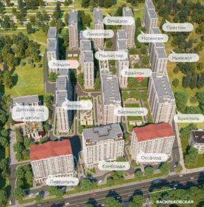 план расположения домов на территории жк новая англия